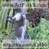 Classical Style Sculpture and Statues by sculptor artist Anon of the East titled: 'Little Angel (Bronze Classically Inspired Small garden/Yard nude statue)' in Bronze