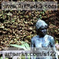 Human Figurative Sculpture by sculptor artist Anon of the East titled: 'Taking her Ease (life size Girl Sitting/Seated garden/Yard sculptures)' in Bronze