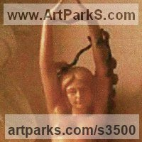 Nudes, Female Sculpture by sculptor artist Anon of the Orient titled: 'Dancing Girl (nude Pink Carved marble life size Flower Garlands statue)' in Sunset red marble