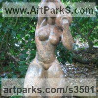 Nudes, Female Sculpture by sculptor artist Anon of the Orient titled: 'nude with Urn (Modern Semi abstract Carved marble garden/Yard statue)' in Marble