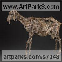 Pet and Animal Portrait Custom or Bespoke or Commission Commemorative or Memoriaql sculpture statue by sculptor artist Ans Zondag titled: 'Goat' in Bronze