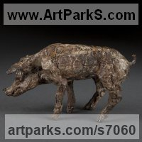 Young Animal Bird, Reptile or Amphibian and possibly Insects Statues by sculptor artist Ans Zondag titled: 'Piglet Standing (bronze Stylised Contemporary young Pig statue figure)' in Bronze