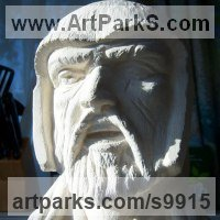 Historical Character Statues / Sculpture by sculptor artist Anthony Bartyla titled: 'Beowulf from Legend (Carved Stone Head sculpture)' in Ancaster limestone