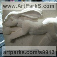 Carved Stone, Marble, Alabaster, Soap Stone Granite Lime stone by sculptor artist Anthony Bartyla titled: 'Hare Running (Carved High Relief Panel Carvings)' in Ancaster limestone