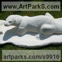 Carved Stone, Marble, Alabaster, Soap Stone Granite Lime stone by sculptor artist Anthony Bartyla titled: 'Otter (Carved Stone Hunting garden Yard sculpture)' in Limestone