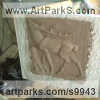Wild Animals and Wild Life Sculpture by sculptor artist Anthony Bartyla titled: 'Stag in Relief' in Cement