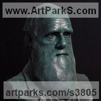 Commemoratives and Memorials Sculpture by sculptor artist Anthony Smith titled: 'Charles Darwin (bronze portrait bust sculpture)' in Bronze
