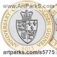 Heraldic Crests Logos Trade Marks Carvings or Castings by sculptor artist Anthony Smith titled: 'Guinea �2 Coin (2013)'