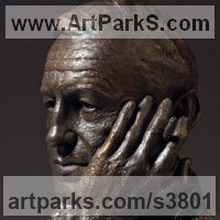 Commemoratives and Memorials Sculpture by sculptor artist Anthony Smith titled: 'Ian Fleming (commission bronze bust Head Face sculpture statue)' in Bronze on marble base