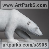 Arctic and Antarctic Birds and Animals sculpture or statuettes or Statues by sculptor artist Anthony Smith titled: 'Stalking Polar Bear' in Bronze