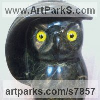 Toys Sculpture / statue / statuette / figurine by sculptor artist Anton Yavny titled: 'I see you to (Amusing Comic Fun Caricature Carved Soap stone Owl)' in Brazilian soapstone and canadian maple a