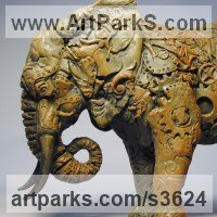 Animal Form: Abstract Sculpture by sculptor artist April Young titled: 'Clockwork Elephant (bronze small Semi abstract sculptures/statuettes)' in Bronze resin