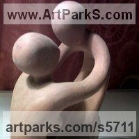 Carved Wood Sculpture by sculptor artist Arsen Alaverdyan titled: 'mother and child'