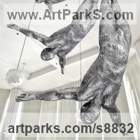 Suspended Sculpture or Statues or Statuettes by sculptor artist Artist Vya titled: 'Diving Man sculpture (bronze Diver Sport statuette)' in Silicon bronze