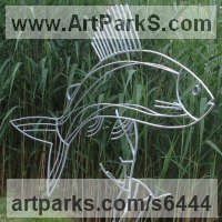 Wild Animals and Wild Life Sculpture by sculptor artist Ashley Baldwin-Smith titled: 'Lady of the Stream (Steel Rod Large Grayling Fish sculpture/statue)' in Steel rods and found obects