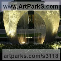 Light and Sound sculpture by sculptor artist Barton Rubenstein titled: 'Arch (Big stainless Steel Water Feature statue)' in Stainless steel (water sculpture)