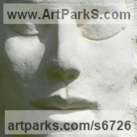 Spiritual sculpture by sculptor artist Ben Dearnley titled: 'Ra, the Sun God (Carved Contemporary Face garden/Yard statue/sculpture)' in Stone