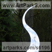 Musician and Musical Sculpture by sculptor artist Ben Dearnley titled: 'Song of the Wind (Big stainless Steel abstract garden Harp sculptures)' in Stainless steel