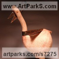 Chickens Hens Poultry Cocks Cockerels Roosters Chicks Turkeys Farmyard Fowl Domestic Ducks and Geese by sculptor artist Bende R�bert titled: 'ceramic stylized Bird (Contemporary Fun Amusing statue)' in Samott clay - 1250 c