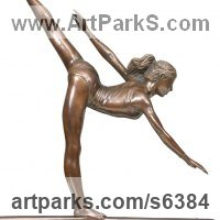 Ballet Dancer Ballerina Classical Dance Sculpture Statues statuettes Figurines by sculptor artist Bill Prickett titled: 'Arabesque (female Gymnast sculpture statuette statue)' in Bronze