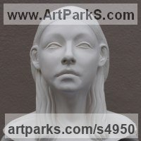 Stylised Heads / Busts Sculpture by sculptor artist Billie Bond titled: 'Princess Tootee (Portrait Head Egyptian Godess statue)' in Cast marble with oak base