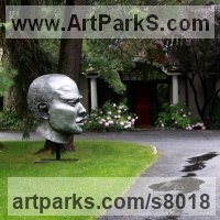 Public Park or Urban Landscape or Corporate sculpture / Fountain / Sratuary by sculptor artist Bob Clyatt titled: 'Fierce (Large Big |Mans Head Face Bust statue sculpture)' in Cast aluminum