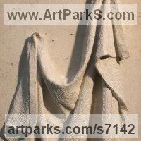 Drapery Sculpture Statue Statuettes Carvings by sculptor artist Bobbie Fennick titled: 'Drapery Study (Carved stone Wall Carving sculpture)' in Ancaster limestone with oak frame