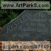 Etched Stone Slate Glass Panel Slab Tile Sheet sculpture by sculptor artist Bobbie Fennick titled: 'Restless (Carved Motto Incised Lettering sculpture)' in Letter carving on riven welsh slate