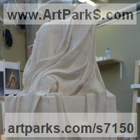 Drapery Sculpture Statue Statuettes Carvings by sculptor artist Bobbie Fennick titled: 'Small Draped Figure (Linen over seated figure statue)' in Plaster of paris, or as required