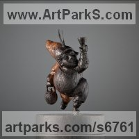 Fairies Imps Trolls Gnomes Pixies Elves Goblins Hobgoblins Leprechauns Gremlins Elfs statuettess figurines Sculpture Statues by sculptor artist Boriss Ivanov titled: 'The Drinker (Miniature Small Littlev Carved Man Dwarf Elph statuette)' in Bog oak