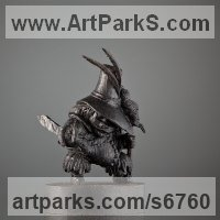 Fairies Imps Trolls Gnomes Pixies Elves Goblins Hobgoblins Leprechauns Gremlins Elfs statuettess figurines Sculpture Statues by sculptor artist Boriss Ivanov titled: 'The Potbellied Man with a Tall Hat (Miniature Carved Wood statuette)' in Bog oak