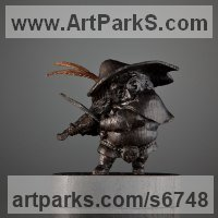 Fairies Imps Trolls Gnomes Pixies Elves Goblins Hobgoblins Leprechauns Gremlins Elfs statuettess figurines Sculpture Statues by sculptor artist Boriss Ivanov titled: 'The Violin Player (Miniature)' in Bog oak