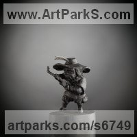 Fairies Imps Trolls Gnomes Pixies Elves Goblins Hobgoblins Leprechauns Gremlins Elfs statuettess figurines Sculpture Statues by sculptor artist Boriss Ivanov titled: 'The Lute Player (Miniature Carved Wood statuette ornamrnt)' in Bog oak