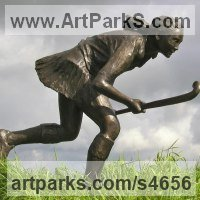 Sculpture of Children by sculptor artist Brian Alabaster titled: 'Hockey Player (bronze School Girl Playing sculptures)' in Bronze