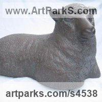 Farm Yard Sculpture by sculptor artist Carol Acworth titled: 'Ewe (bronze resin Lying Resting Sheep garden/Yard statues sculptures)' in Bronze resin