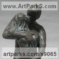 Indoor figurative sculpture by sculptor artist Carol Acworth titled: 'Exploration' in Cold cast bronze