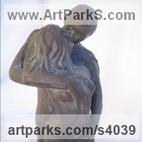 Love / Affection Sculpture by sculptor artist Carol Acworth titled: 'Tenderness (Small Indoors bronze nude Young Lovers Kissing statues)' in Sculpture