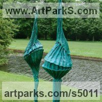 Abstract Modern Contemporary Sculpture Statues statuettes figurines statuary by sculptor artist Carole Andrews titled: 'Blue Franchettii (abstract Outdoor Yard/garden Flower sculpture)' in Roofing felt, steel, polyurethane, resin