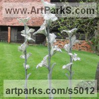 Abstract Modern Contemporary Sculpture Statues statuettes figurines statuary by sculptor artist Carole Andrews titled: 'Flora - group of 3 (abstract Big Modern Outdoor Floral garden statues)' in Aluminium, steel, resin