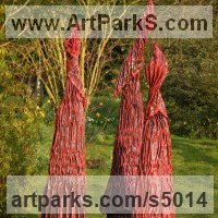 Abstract Modern Contemporary Sculpture Statues statuettes figurines statuary by sculptor artist Carole Andrews titled: 'Red Sentinels (abstract figurative Contemporary Modern garden sculpture)' in Roofing felt, steel, polyurenthane, resi