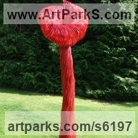 Outsize, Very Big, Extra Large and Massive Sculpture by sculptor artist Carole Andrews titled: 'Red Villosa (Giant Outsize abstract Floral garden/Yard decorations)' in Aluminium resin