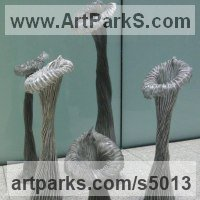 Abstract Plants Fruits Trees Leaves Flowers Statues Sculpture by sculptor artist Carole Andrews titled: 'Villosa Group (Stylized abstract Yard/garden Decoration Embelishment)' in Aluminium, resin