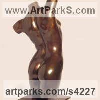 Sensual Sculpture or Statues by sculptor artist Chris Bower titled: 'female Torso II (bronze nude Interior sculptures)' in Bronze