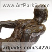 Hyperrealistic Sculpture by sculptor artist Chris Bower titled: 'Male Gymnast (nude bronze Nearly life size Fit Athlete statues)' in Bronze