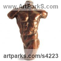 Classical Sculpture and Statues by sculptor artist Chris Bower titled: 'Male Torso II (Small nude Musceley bronze sculpture)' in Bronze