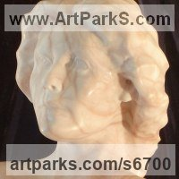 Interior, Indoors, Inside Sculpture by sculptor artist Christian Wilson titled: 'Bust of Juliet (life size Alabaster Commissioned Portrait Head statues)' in Solid alabaster (striated pink)