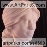 Interior, Indoors, Inside Sculpture by sculptor artist Christian Wilson titled: 'Portrait Bust of PE (Commission Carved stone/Alabaster Head?Bust statue)' in Solid greek marble (sivec, pure white)