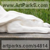 Hares and Rabbits Sculpture by sculptor artist Christine Close titled: 'Hareslide (White Fun Humerous Prostrate Hare garden statue sculpture)' in Marble resin