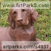 Friendship Friends chummyness Amicability Camaraderie Cordility Kindred Spirit by sculptor artist Christine Close titled: 'Poser (Retriever Dog Resting Yard statue sculpture)' in Copper resin