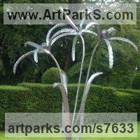 Tree Plant Shrub Bonsai sculpture statue statuette by sculptor artist Colleen du Pon titled: 'Firework Flower (Large Outsized abstract Stylized Flower sculpture)' in Mild steel, forged